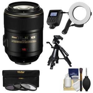 Nikon 105mm f-2.8 G VR AF-S Micro-Nikkor Lens with Ringlight + Tripod + 3 UV-CPL-ND8 Filters + Kit