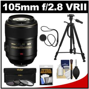 Nikon 105mm f-2.8 G VR AF-S Micro-Nikkor Lens with 3 UV-CPL-ND8 Filters + Tripod + Kit