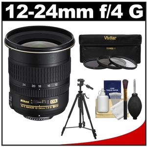 Nikon 12-24mm f/4 G DX AF-S ED-IF Zoom-Nikkor Lens with 3 UV/ND8/CPL Filters + Tripod + Cleaning Kit