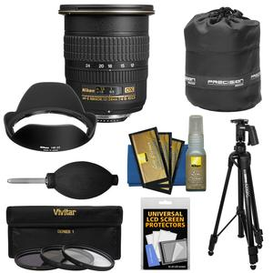 Nikon 12-24mm f-4 G DX AF-S ED-IF Zoom-Nikkor Lens with 3 UV-CPL-ND8 Filters + Pistol Grip Tripod + Pouch Kit