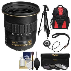 Nikon 12-24mm f-4 G DX AF-S ED-IF Zoom-Nikkor Lens with Backpack + Pistol-Grip Tripod + 3 UV-CPL-ND8 Filters + Kit