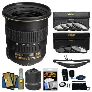 Nikon 12-24mm f-4 G DX AF-S ED-IF Zoom-Nikkor Lens with Pouch + 3 UV-CPL-ND8 and 4 Macro Filter Set + Sling Strap + Kit
