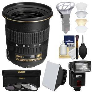 Nikon 12-24mm f-4 G DX AF-S ED-IF Zoom-Nikkor Lens with iTTL Flash + Soft Box + Diffuser Bouncer + 3 UV-CPL-ND8 Filters + Kit