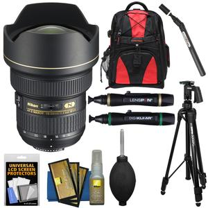 Nikon 14-24mm f-2.8G AF-S ED Zoom-Nikkor Lens with Backpack + Pistol Grip Tripod + Sensor Clean Kit