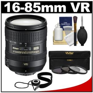 Nikon 16-85mm f-3.5-5.6 G VR DX AF-S ED Zoom-Nikkor Lens with 3 UV-ND8-CPL Filters + Accessory Kit