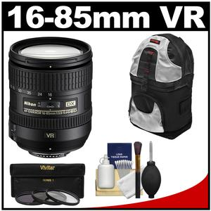 Nikon 16-85mm f-3.5-5.6 G VR DX AF-S ED Zoom-Nikkor Lens with Sling Backpack + 3 UV-CPL-ND8 Filters + Kit