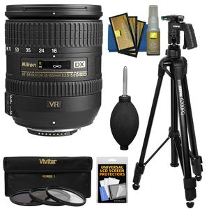 Nikon 16-85mm f-3.5-5.6 G VR DX AF-S ED Zoom-Nikkor Lens with 3 UV-CPL-ND8 Filters + Pistol Grip Tripod + Kit