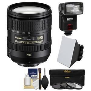Nikon 16-85mm f-3.5-5.6 G VR DX AF-S ED Zoom-Nikkor Lens with iTTL Flash + Soft Box + 3 UV-CPL-ND8 Filters + Kit