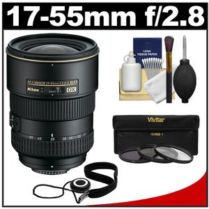 Nikon 17-55mm f/2.8 G DX AF-S ED-IF Zoom-Nikkor Lens with 3 UV/ND8/CPL Filters + Accessory Kit