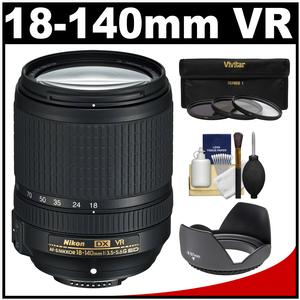 Nikon 18-140mm f-3.5-5.6G VR DX ED AF-S Nikkor-Zoom Lens with 3 UV-CPL-ND8 Filters + Hood + Accessory Kit