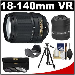 Nikon 18-140mm f-3.5-5.6G VR DX ED AF-S Nikkor-Zoom Lens with 3 UV-CPL-ND8 Filters + Hood + Lens Pouch + Tripod + Accessory Kit