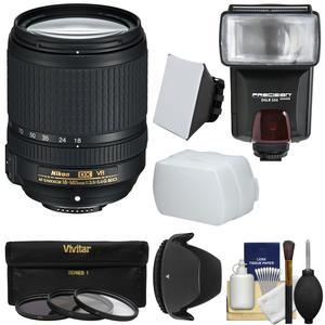 Nikon 18-140mm f-3.5-5.6G VR DX ED AF-S Nikkor-Zoom Lens with 3 Filters + Hood + Flash and 2 Diffusers + Kit