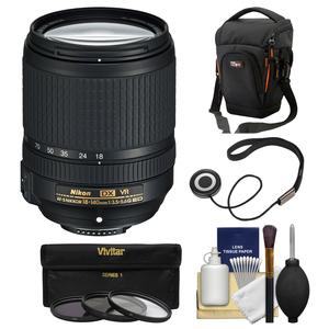 Nikon 18-140mm f-3.5-5.6G VR DX ED AF-S Nikkor-Zoom Lens with Case + 3 UV-CPL-ND8 Filters + Kit