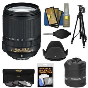 Nikon 18-140mm f-3.5-5.6G VR DX ED AF-S Nikkor-Zoom Lens with 3 UV-CPL-ND8 Filters + Pistol Grip Tripod + Pouch Kit