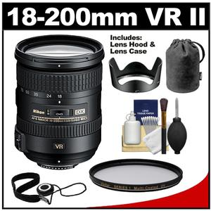 Nikon 18-200mm f-3.5-5.6G VR II DX ED AF-S Nikkor-Zoom Lens with UV Multi-Coated Filter + Cleaning Kit