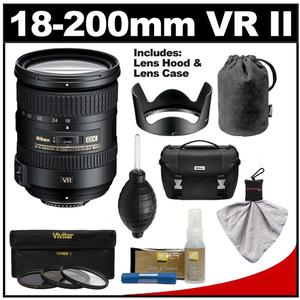 Nikon 18-200mm f-3.5-5.6G VR II DX ED AF-S Nikkor-Zoom Lens with Nikon Case + 3 UV-FLD-CPL Filters + Cleaning Kit