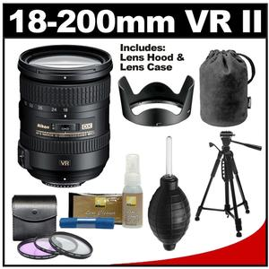 Nikon 18-200mm f/3.5-5.6G VR II DX ED AF-S Nikkor-Zoom Lens with Tripod 3 UV/FLD/CPL Filters Cleaning Kit