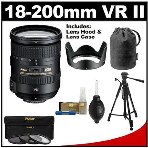 Nikon 18-200mm f-3.5-5.6G VR II DX ED AF-S Nikkor-Zoom Lens with Tripod + 3 UV-FLD-CPL Filters + Cleaning Kit