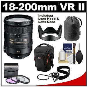Nikon 18-200mm f/3.5-5.6G VR II DX ED AF-S Nikkor-Zoom Lens with Holster Case 3 UV/FLD/CPL Filters Cleaning Kit