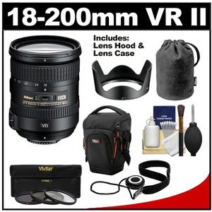 Nikon 18-200mm f-3.5-5.6G VR II DX ED AF-S Nikkor-Zoom Lens with Holster Case + 3 UV-FLD-CPL Filters + Cleaning Kit