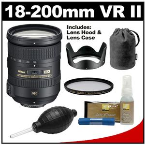 Nikon 18-200mm f-3.5-5.6G VR II DX ED AF-S Nikkor-Zoom Lens with UV Filter + Nikon Cleaning Kit