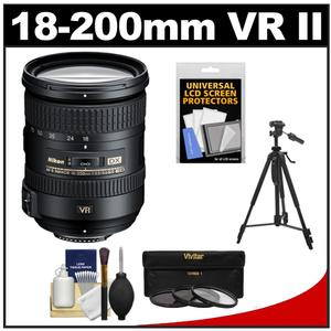 Nikon 18-200mm f-3.5-5.6G VR II DX ED AF-S Nikkor-Zoom Lens with 3 UV-FLD-CPL Filters + Tripod + Accessory Kit
