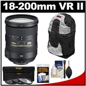 Nikon 18-200mm f-3.5-5.6G VR II DX ED AF-S Nikkor-Zoom Lens with 3 UV-CPL-ND8 Filters + Sling Backpack + Kit