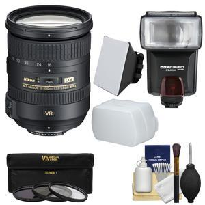 Nikon 18-200mm f-3.5-5.6G VR II DX ED AF-S Nikkor-Zoom Lens with 3 Filters + Flash and 2 Diffusers + Kit
