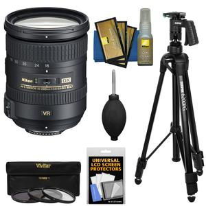 Nikon 18-200mm f-3.5-5.6G VR II DX ED AF-S Nikkor-Zoom Lens with 3 UV-CPL-ND8 Filters + Pistol Grip Tripod + Kit