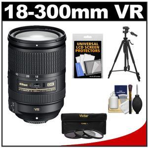 Nikon 18-300mm f/3.5-5.6G VR DX ED AF-S Nikkor-Zoom Lens - Factory Refurbished with 3 (UV/ND8/CPL) Filters + Tripod + Accessory Kit
