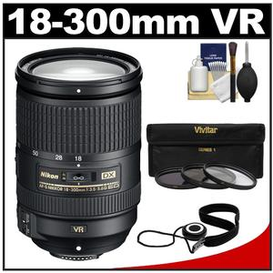 Nikon 18-300mm f-3.5-5.6G VR DX ED AF-S Nikkor-Zoom Lens with 3 - UV-ND8-CPL - Filters + Accessory Kit