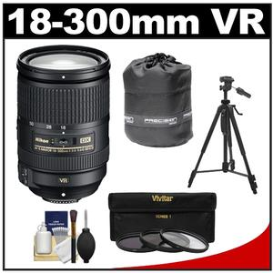 Nikon 18-300mm f-3.5-5.6G VR DX ED AF-S Nikkor-Zoom Lens with 3 - UV-ND8-CPL - Filters + Lens Pouch + Tripod + Accessory Kit