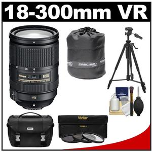 Nikon 18-300mm f-3.5-5.6G VR DX ED AF-S Nikkor-Zoom Lens with 3 - UV-ND8-CPL - Filters + Case + Tripod + Accessory Kit