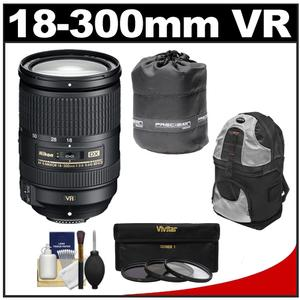 Nikon 18-300mm f-3.5-5.6G VR DX ED AF-S Nikkor-Zoom Lens with 3 - UV-ND8-CPL - Filters + Backpack + Accessory Kit