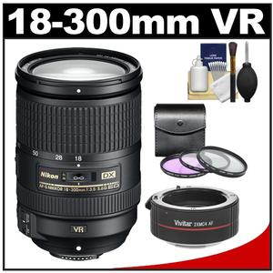 Nikon 18-300mm f/3.5-5.6G VR DX ED AF-S Nikkor-Zoom Lens with 3 (UV/FLD/CPL) Filters + Teleconverter + Accessory Kit