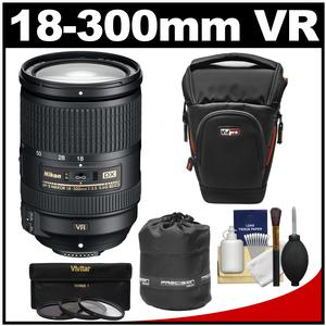 Nikon 18-300mm f-3.5-5.6G VR DX ED AF-S Nikkor-Zoom Lens with 3 UV-CPL-ND8 Filters + Holster Case + Pouch + Kit