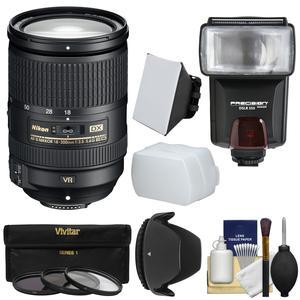 Nikon 18-300mm f-3.5-5.6G VR DX ED AF-S Nikkor-Zoom Lens with 3 Filters + Hood + Flash and 2 Diffusers + Kit