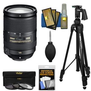 Nikon 18-300mm f-3.5-5.6G VR DX ED AF-S Nikkor-Zoom Lens with Tripod + 3 Filters - UV-CPL-ND8 - + Accessory Kit