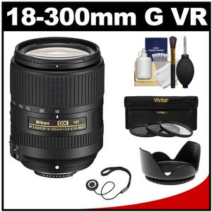 Nikon 18-300mm f-3.5-6.3G VR DX ED AF-S Nikkor-Zoom Lens with 3 UV-CPL-ND8 Filters + Hood + Accessory Kit