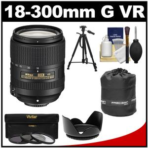 Nikon 18-300mm f-3.5-6.3G VR DX ED AF-S Nikkor-Zoom Lens with 3 UV-CPL-ND8 Filters + Hood + Tripod + Accessory Kit
