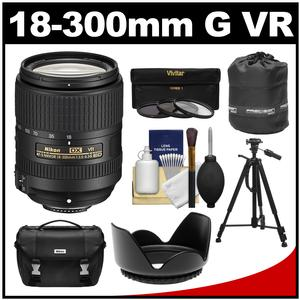Nikon 18-300mm f-3.5-6.3G VR DX ED AF-S Nikkor-Zoom Lens with Case + Tripod + 3 UV-CPL-ND8 Filters + Hood + Accessory Kit