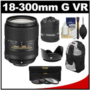 Nikon 18-300mm f-3.5-6.3G VR DX ED AF-S Nikkor-Zoom Lens with Backpack + 3 UV-CPL-ND8 Filters + Hood + Accessory Kit