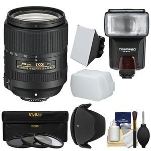 Nikon 18-300mm f-3.5-6.3G VR DX ED AF-S Nikkor-Zoom Lens with 3 Filters + Hood + Flash and 2 Diffusers + Kit