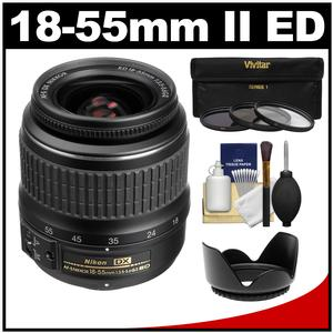 Nikon 18-55mm f-3.5-5.6G II DX AF-S ED Zoom-Nikkor Lens - Factory Refurbished with 3 UV-CPL-ND8 Filters + Hood Kit