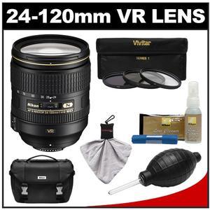 Nikon 24-120mm f/4 G VR AF-S ED Zoom-Nikkor Lens with 3 Filter Set + Case + Cleaning Accessory Kit