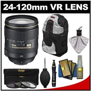 Nikon 24-120mm f/4 G VR AF-S ED Zoom-Nikkor Lens with Sling Backpack + 3 UV/CPL/ND8 Filters + Kit