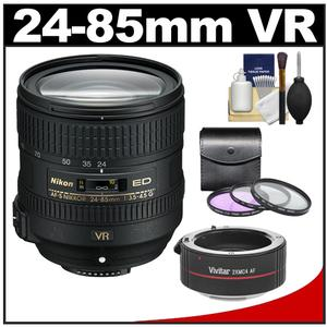 Nikon 24-85mm f/3.5-4.5G VR ED AF-S Nikkor-Zoom Lens with 2x Teleconverter + 3 (UV/FLD/CPL) Filters + Accessory Kit