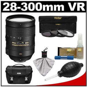 Nikon 28-300mm f/3.5-5.6 G VR AF-S ED Zoom-Nikkor Lens with 3 UV/ND8/CPL Filters + Case + Cleaning Accessory Kit