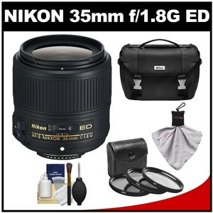 Nikon 35mm f/1.8G AF-S ED Nikkor Lens with 3 UV/CPL/ND8 Filters + Case + Spudz + Accessory Kit