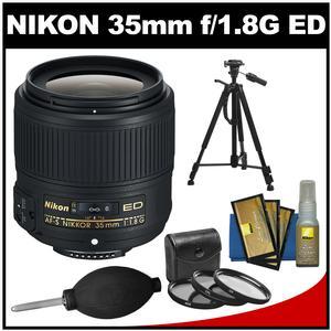 Nikon 35mm f/1.8G AF-S ED Nikkor Lens with 3 UV/CPL/ND8 Filters Tripod Accessory Kit